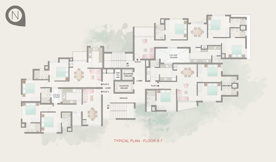 Typical Plan - Floor 3-7