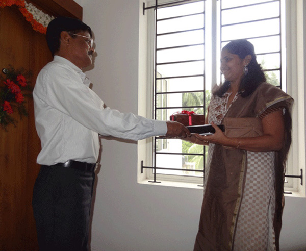 Keys being handed over to Mr. Sabiraj Gangadhar of apartment no. A 3