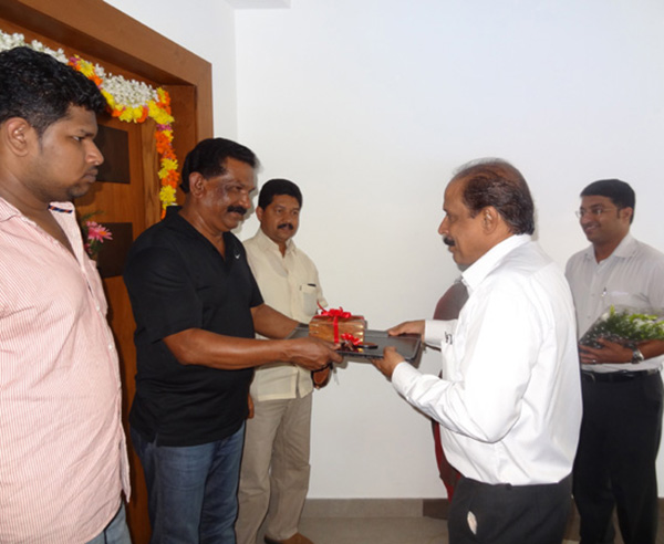Keys being handed over to Mr.Sunil Kumar of apartment no.D 14