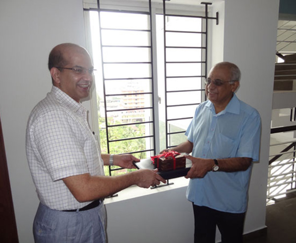 Keys being handed over to Dr Ambat.G.Unni - Apartment no A 12