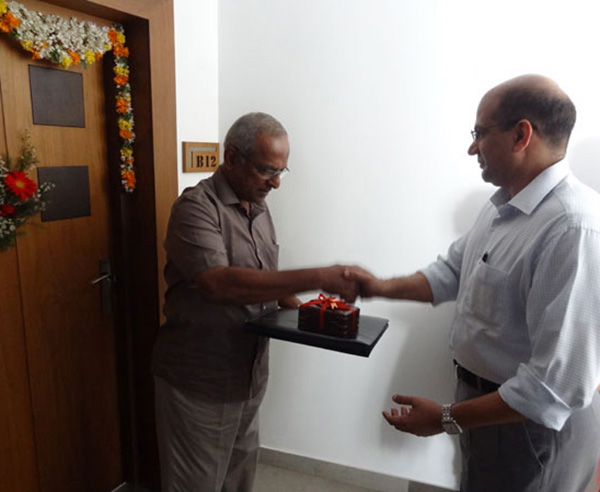 Keys being handed over to Mr Prabhakaran of apartment no.B 12