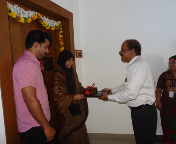 Keys being handed over to Mr.Shanavas of apartment no.B 7