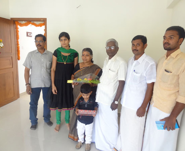 Mr. K S Prabash and family , of apartment no C 2 in Crescent Mansa during handing over ceremony