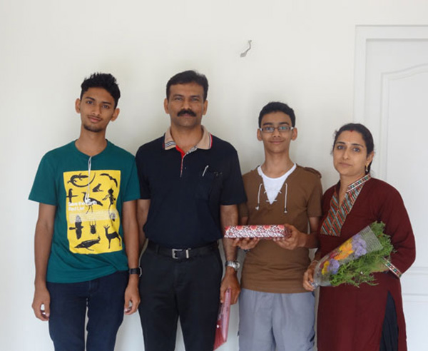 Mr.Pramod Kumar & family, of apartment no A 3 in Crescent Mansa during handing over ceremony