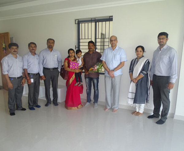 Our team with Mr. Rajesh E and family of apartment B 10 in Crescent Aster