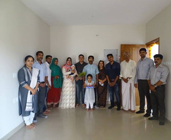Our team with Mr. Basheer & family of apartment A 4 in Crescent Aster after handing over