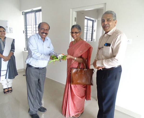 Our General Manager Administration greeting Dr. George Abraham and Dr. Geetha George  of apartment D 3 in Crescent Aster during handing over ceremony.