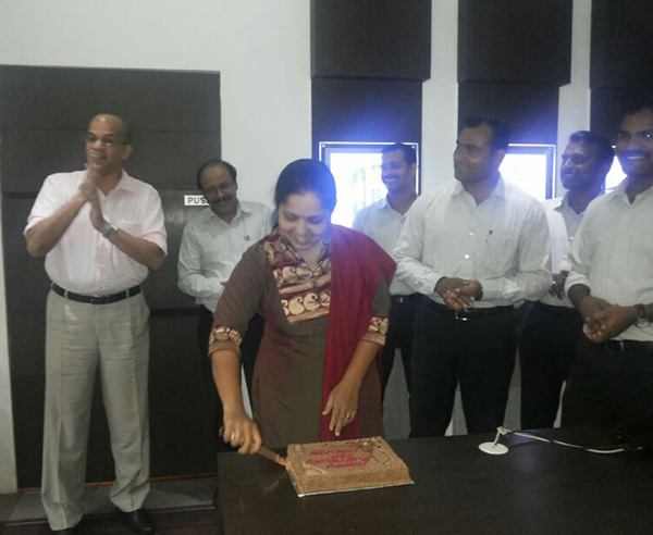 Our Customer Relations Officer, Padmaja Rao's birthday being celebrated.