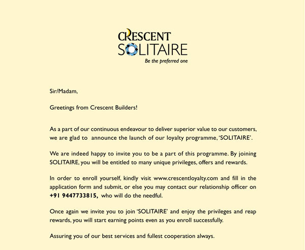 Crescent Solitaire, Our Loyalty Programme