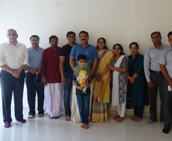 Our team with Mr. Vinod of apartment A 4 in Crescent Tulip after handing over