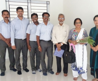 Our team with Mr & Mrs. Subramanian of apartment A 2 in Crescent Tulip after handing over