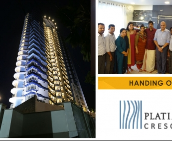 Our team with Dr.Sajay and family of apartment B 8 in Platinum Crescent after handing over.