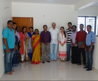 Our team with Mr.Aravind Babu & family of apartment no. B 1 & G 2 in Space on Earth, Malaparamba after handing over.