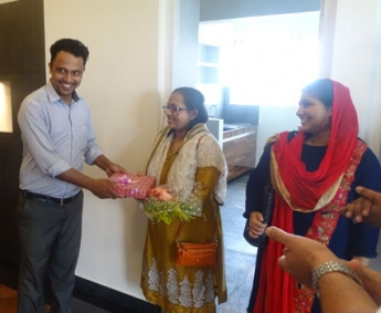 Our Site Engineer - Mansoor greeting Ms. Reema Saleh of apartment C 10 in Crescent Tulip during handing over ceremony.