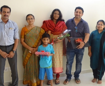 Our team with Mr. Roopesh Ashokan and Family of apartment no. C 1 in Space on Earth, Malaparamba  after handing over.