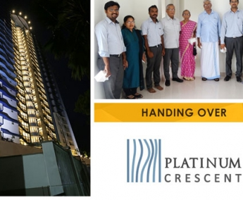 Our team with Mr. Sudhakaran M and Family of apartment no. C 2 in Platinum Crescent after handing over.