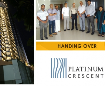 Our team with Mr. Gopinadhan Vallil of apartment no. A 18 in Platinum Crescent after handing over.