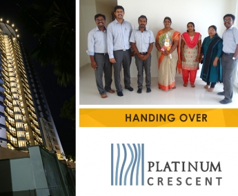 Our team with Ms. Sheela, apartment no. B 7 in Platinum Crescent after handing over.