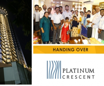 Our team with Waheeda M. and Family of apartment no. A 8 in Platinum Crescent after handing over.