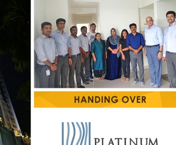 Our team with Mr. Anvar P. T. and Family of apartment no. C 21 in Platinum Crescent after handing over.