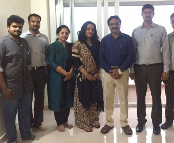 Our team with Dr. Simi Manoj Kumar & Dr. Manoj Kumar  of apartment no. C 9 in Crescent Tulip after handing over.