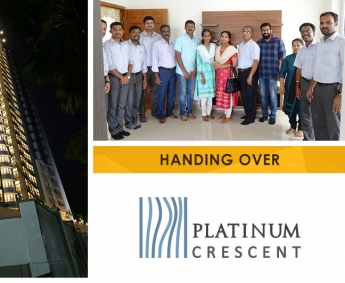 Our team with Ms. Smitha Vijayaraghavan and family of apartment no. D 3 in Platinum Crescent after handing over.