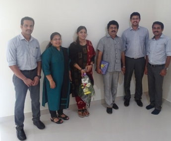 Our team with Mr. Harikumar & Ms. Lashitha Harikumar of apartment no. H 1 in Space On Earth, Malaparamba after handing over.