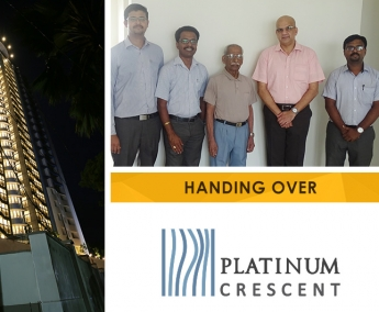 Our team with Mr. K. P. Surendran of apartment no. B 18 in Platinum Crescent after handing over.