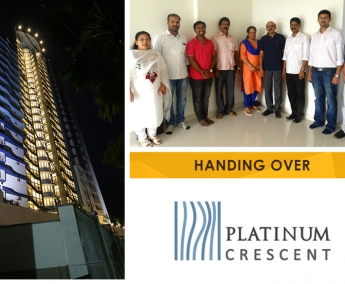 Our team with Mr. Antony Chacko & Family of apartment no. A 11 in Platinum Crescent after handing over.