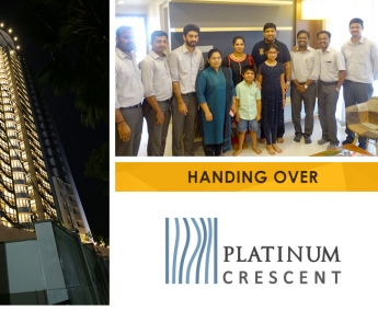 Our team with Mr. Sreenath Parambath & Family of apartment no. B 13 in Platinum Crescent after handing over.