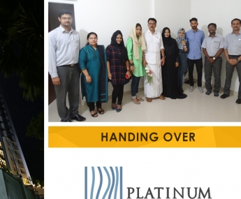 Our team with Mr. Abdul Gaffoor Ummer and Family of apartment no. A 12 in Platinum Crescent after handing over.