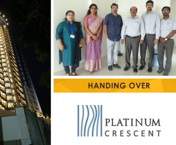 Our team with Dr. Jayaprakash and Family of apartment no. A 17 in Platinum Crescent after handing over.