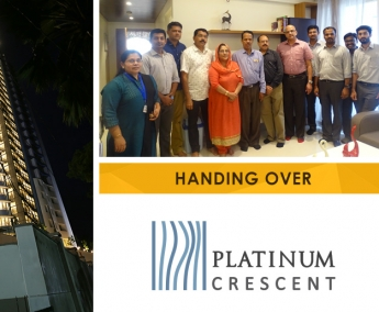 Our team with Mr. Abdul Rahiman and Family of apartment no. B 16 in Platinum Crescent after handing over.