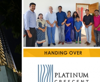 Our team with Mr. Shanish Kumar P. K. and Family of apartment no. D 15 in Platinum Crescent after handing over