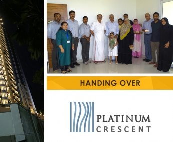 Our team with Mr. C.V. Mustafa Ahmed and Family of apartment no. D 21 in Platinum Crescent after handing over