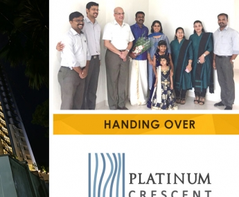 Our team with Mr. Nishaj N.  & Family of apartment no. A 6 in Platinum Crescent after handing over