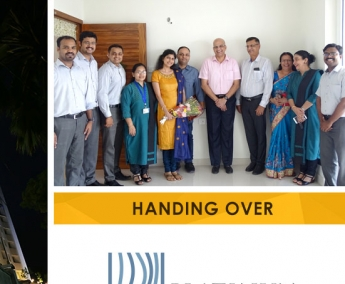 Our team with Lt. Col. Deepesh Unni & Family of apartment no. C 23 in Platinum Crescent after handing over