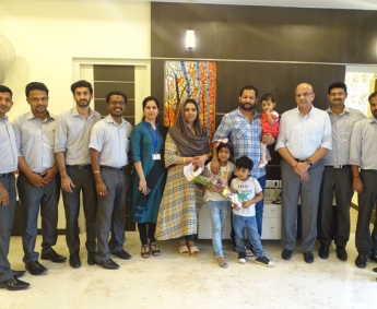 Our team with Mr. Shakkeer Kakkeri & Family of apartment no. C 7 in Crescent Zinnia after handing over.