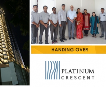 Our team with Ms. Geetha Rajendran & Family of apartment no. A 15 in Platinum Crescent after handing over