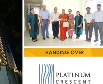 Our team with Lt. Col. P. K. P. V. Panicker & Family of apartment no. B 3 in Platinum Crescent after handing over