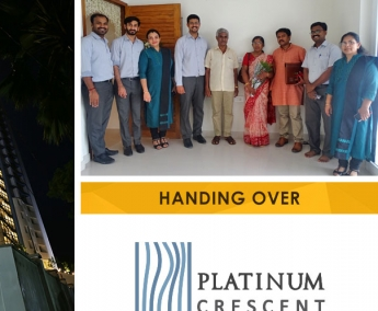 Our team with Mr. Sreejesh N. V. & Family of apartment no. C 22 in Platinum Crescent after handing over