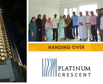 Our team with Ms. Joshila Bishara and family of apartment no. B 12 in Platinum Crescent after handing over