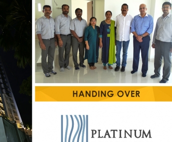Our team with Mr. M. C. Cherian & Ms. Reenu Cherian of apartment no. H 23 in Platinum Crescent after handing over