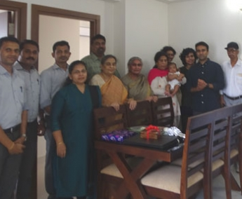 Our team with Mr. Vijay vasant & family of apartment no.C11 in Crescent Lavender, after handing over