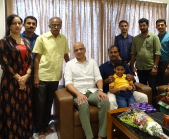 Our team with Mr. Praveen Tharavath & family of apartment no B 7 in Crescent Lavender, after handing over