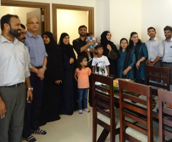 Our team with Dr. Ramzy Mohammed Ali & family of apartment no.C1 in Crescent Lavender, after handing over