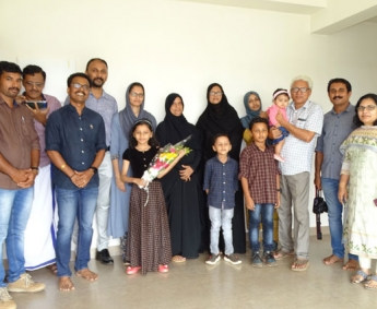 Our team with Mr. Joshil & family of apartment no.B 05 in Crescent Lavender, after handing over