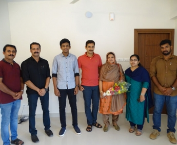 Our team with Ms. Raseena & family of apartment no.E 06 in Crescent Lavender, after handing over