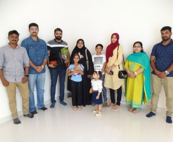 Our team with Mr.Mammed koya & family of apartment no.E 02 Crescent Lavender, after handing over