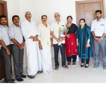Our team with Dr. K C Narayanan & family of apartment no.C 04 in Crescent Lavender, after handing over